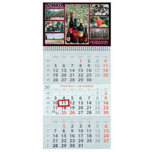 Three piece A3 calendar with one cover photo