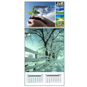 Three piece A4 calendar with a cover photo and 6 sheets with photos and dates