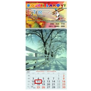 Three piece A3 calendar with a cover photo and 12 sheets with photos and dates