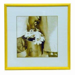 Photoframe 25x25 cm wooden yelow