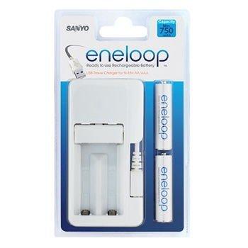 USB Travel Charger Sanyo for NiMH 2xAAA/AA batteries