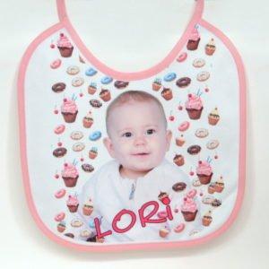 Podbradak za bebe partek pink with your photo