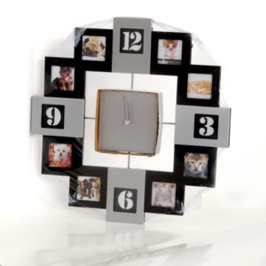 Metal-black clock with 8 photos