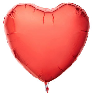 The balloon for the celebration of the heart is red