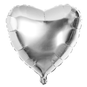 The balloon for the celebration of the heart is silver